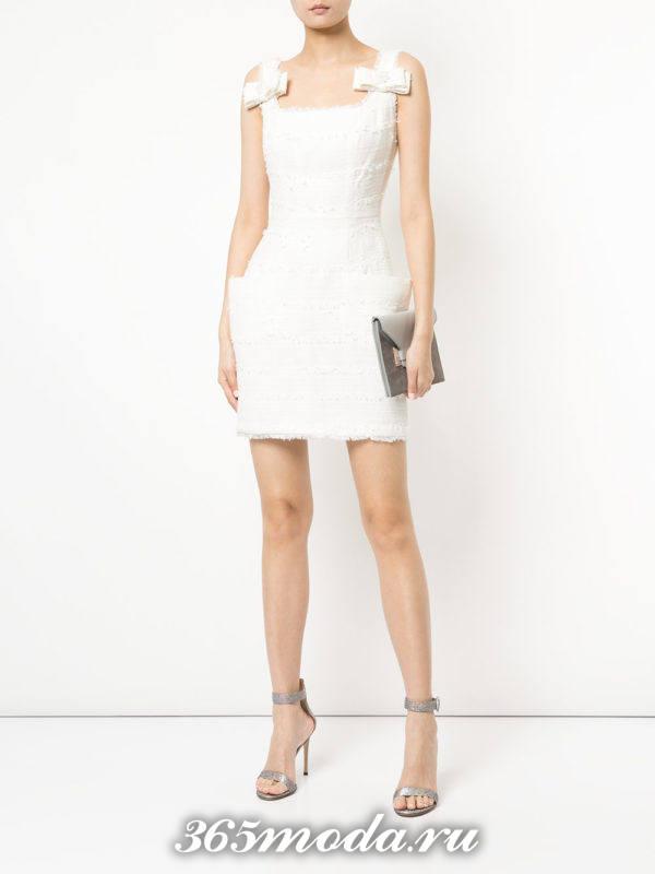 кроткое белое платье тюльпан на выпускной