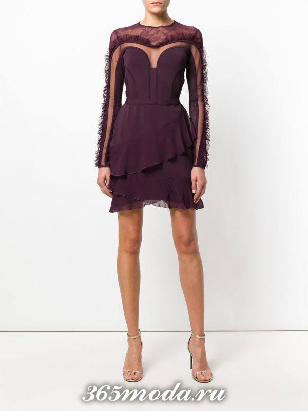 кроткое фиолетовое платье тюльпан с оборками на выпускной