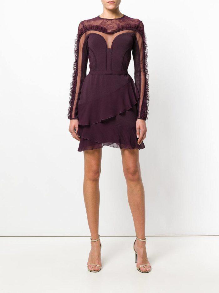 короткие платья на выпускной: фиолетовое тюльпан с оборками
