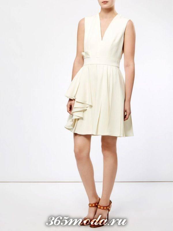 молочное короткое платье клеш ампир на выпускной