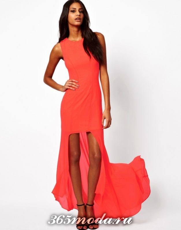 красное короткое платье со шлейфом на выпускной