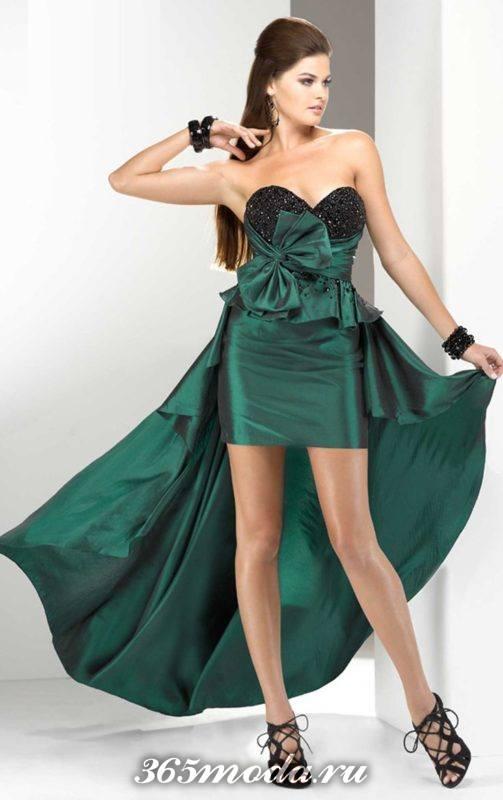 зеленое короткое платье со шлейфом и баской на выпускной