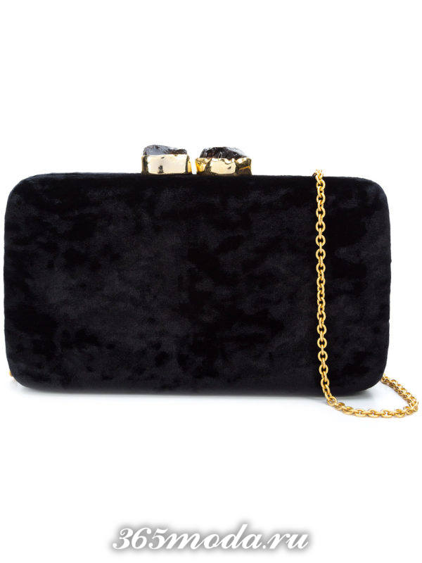 бархатная черная сумка клатч на цепочке для выпускного