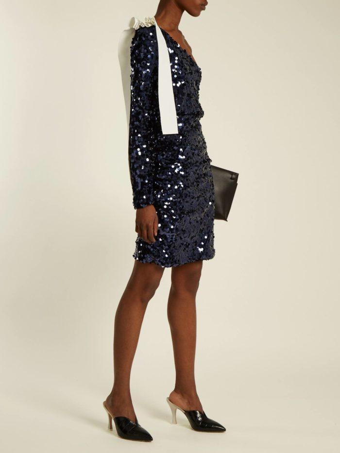 короткое выпускное платье: с пайетками черное