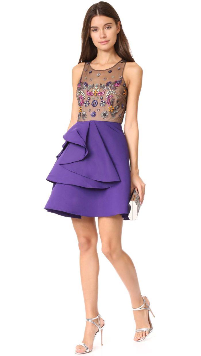 платье короткое на выпускной: комбинированное