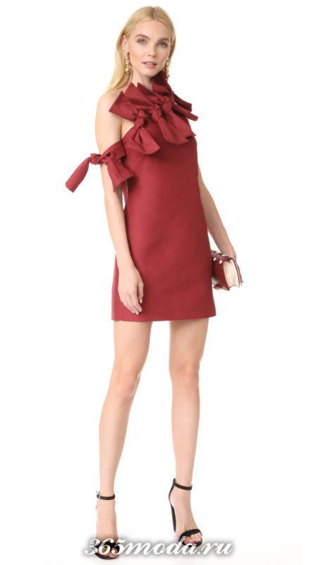 красное платье короткое с бантиками на выпускной