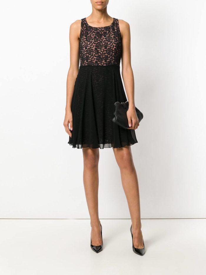 черное короткое платье клеш ампир на выпускной