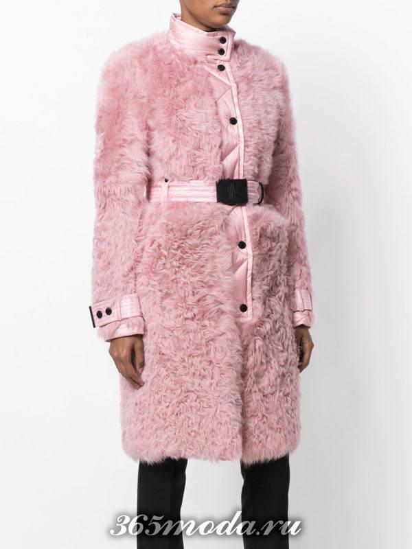 розовое меховое пальто с поясом осень-зима