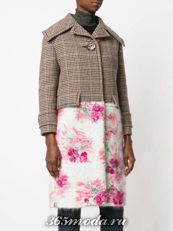 комбинированное пальто с воротником осень-зима