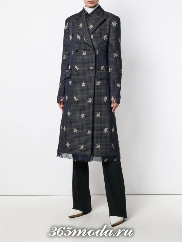 пальто миди с принтом осень-зима