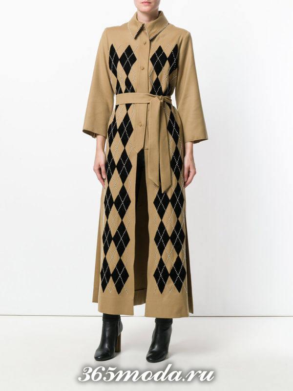 макси пальто с принтом осень-зима