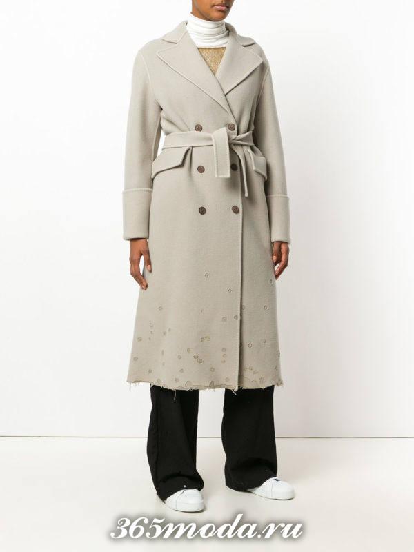 светлое макси пальто с поясом осень-зима