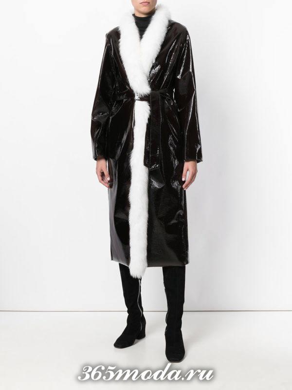 бархатное миди пальто осень-зима