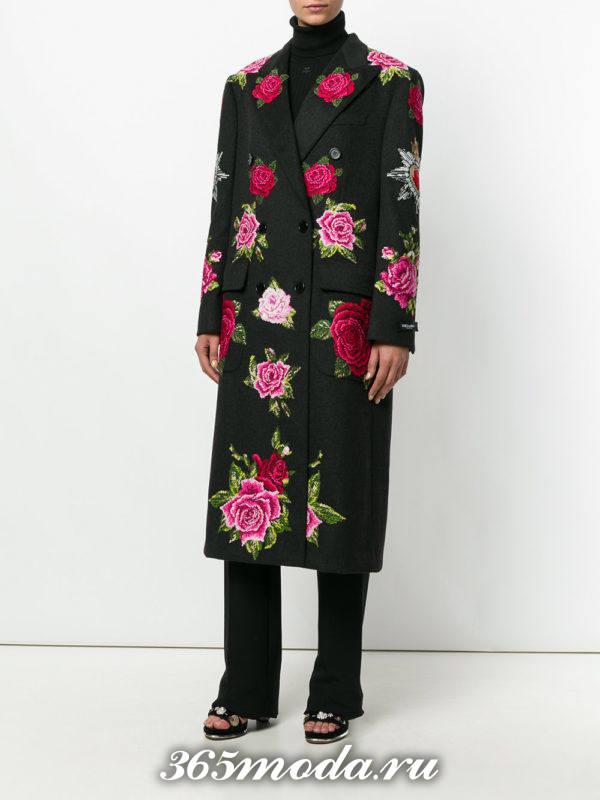 серое миди пальто с цветочным принтом осень-зима