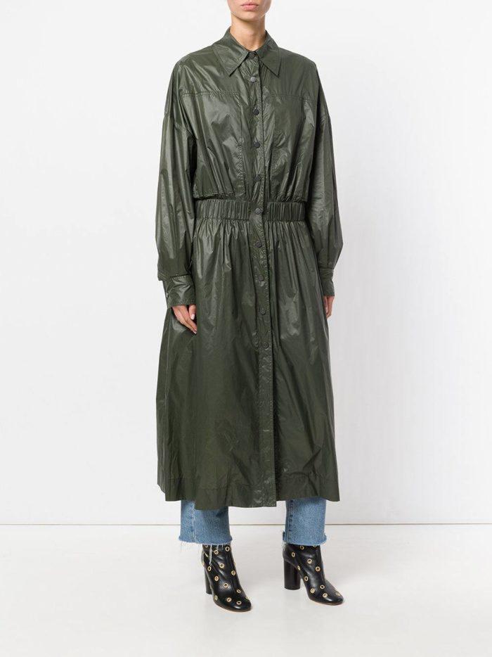 Верхняя одежда осень-зима 2019-2020: зеленый длинный плащ