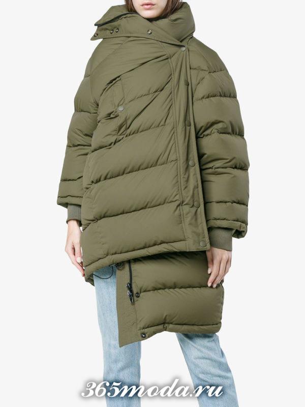 асимметричный зеленый пуховик осень-зима
