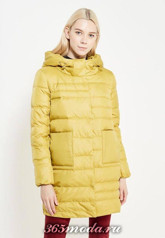 желтый пуховик с накладными карманами осень-зима