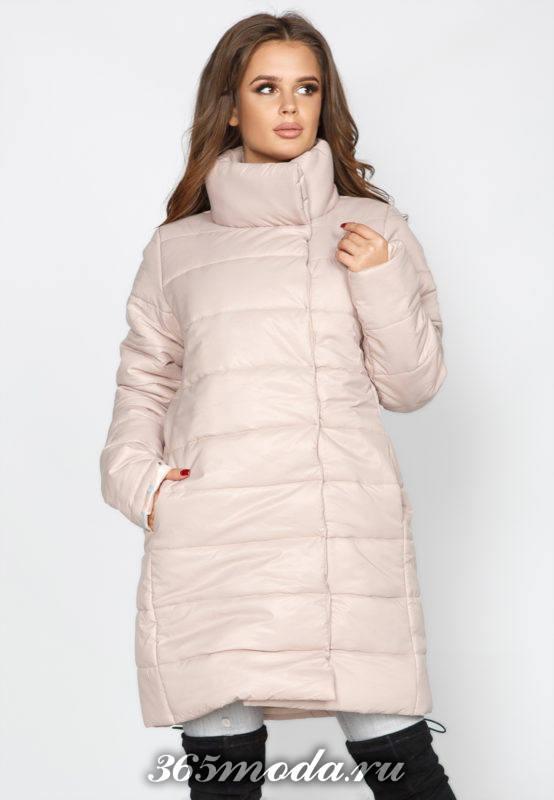 розовый пуховик с воротником-стойкой осень-зима