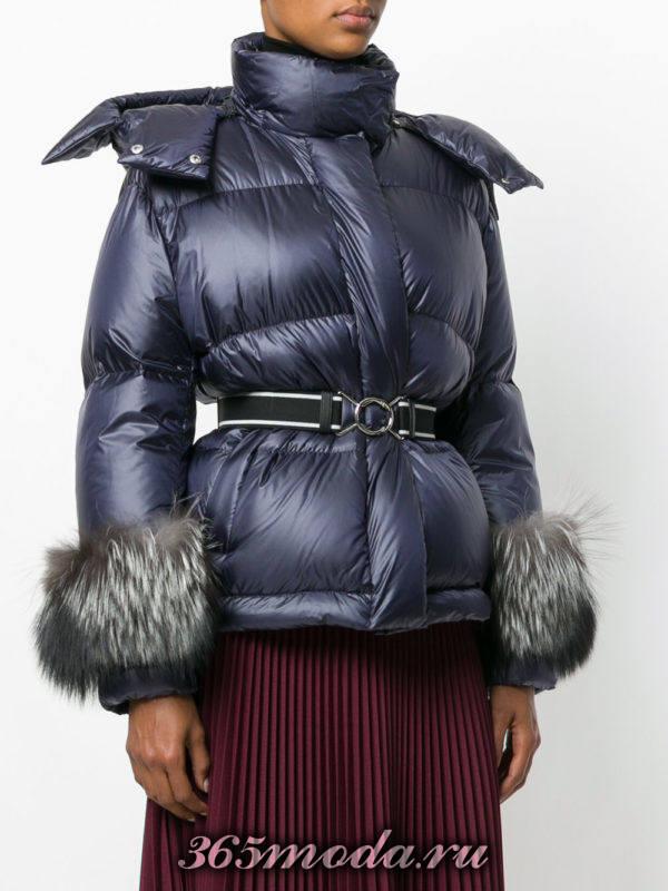 стеганая куртка с поясом и мехом осень-зима