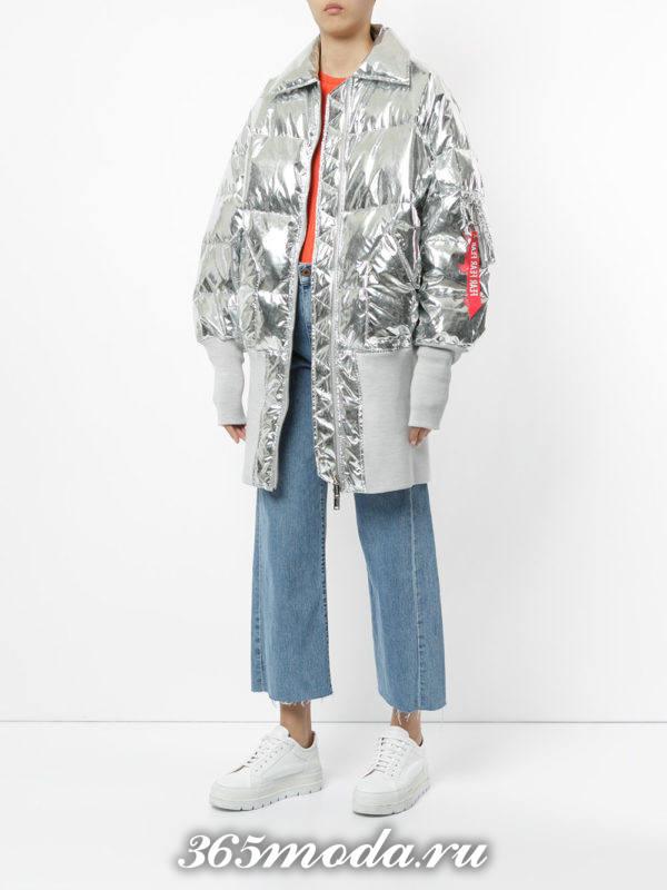 стеганая куртка оверсайз металлик осень-зима