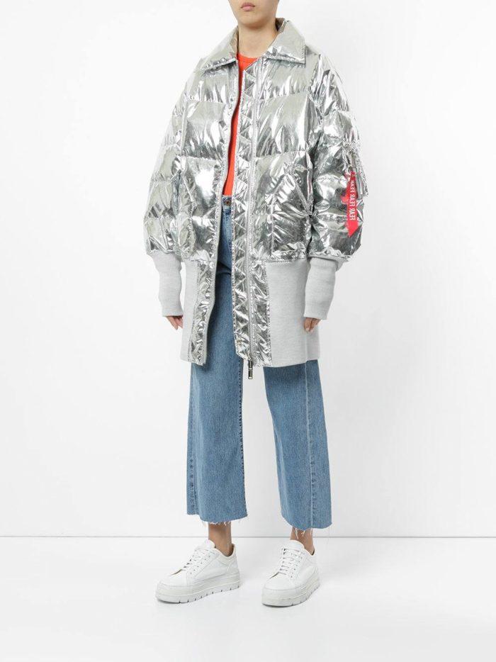 стеганая куртка оверсайз металлик