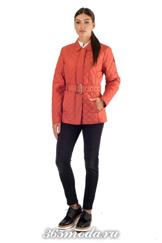 стеганая куртка с поясом осень-зима