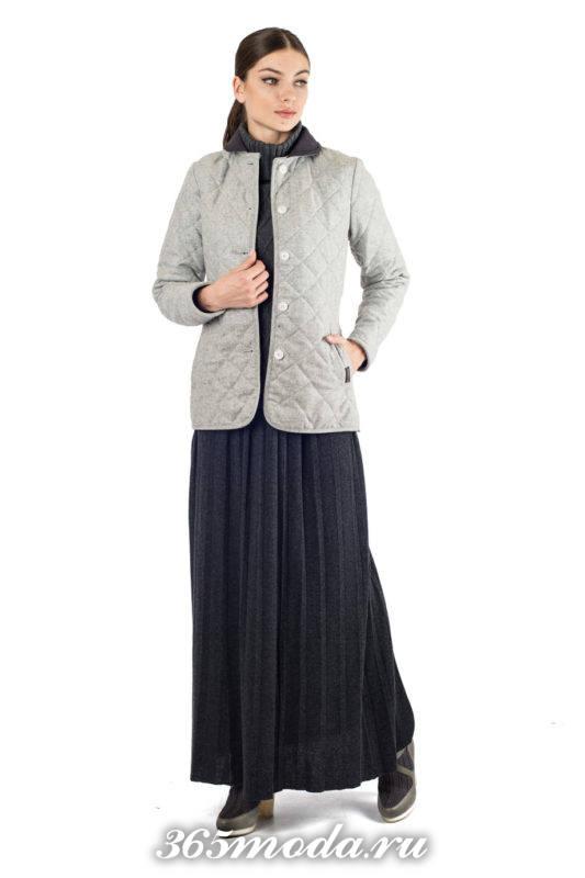 стеганая куртка на пуговицах осень-зима