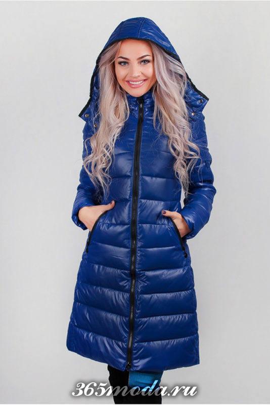 стеганая синяя куртка с капюшоном осень-зима