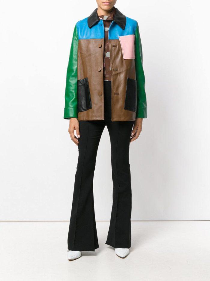 кожаная куртка колорблок