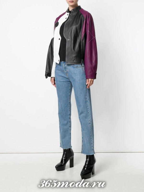 кожаная разноцветная куртка с пышными рукавами осень-зима