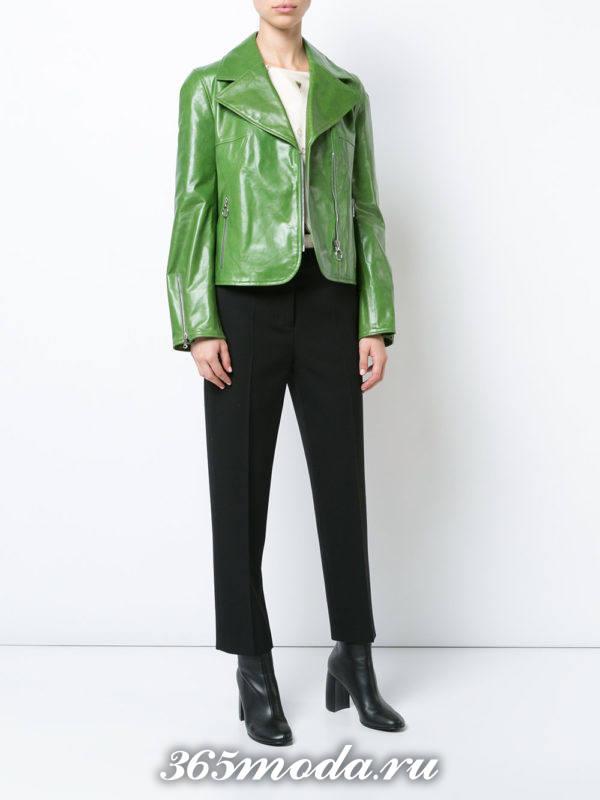 короткая кожаная зеленая куртка осень-зима