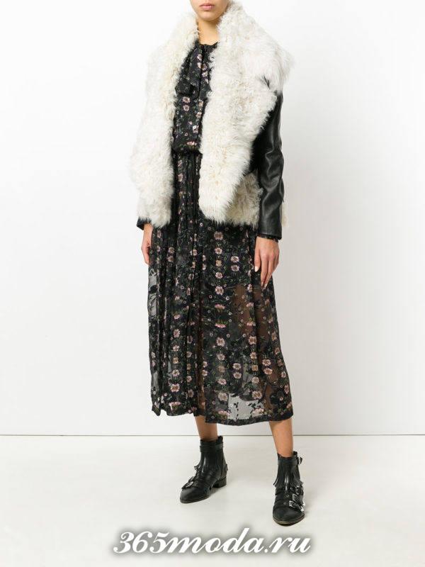 кожаная куртка с мехом осень-зима