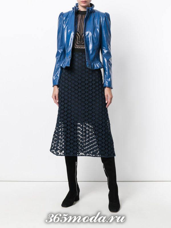 синяя короткая кожаная куртка осень-зима
