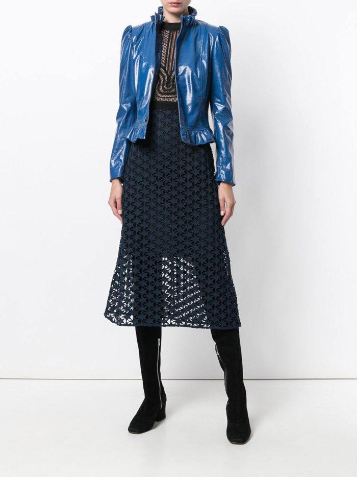 синяя короткая кожаная куртка