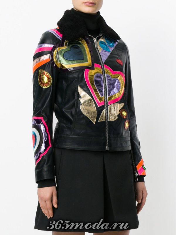 кожаная куртка с рисунками осень-зима