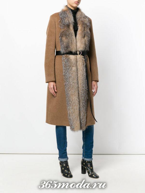 пальто миди с мехом осень-зима
