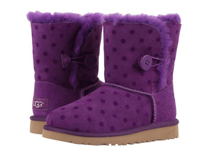 зимние фиолетовые угги с принтом