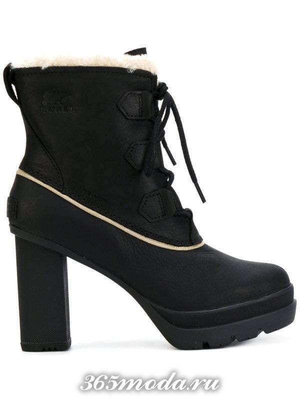 зимние полусапожки на каблукас с шнурками