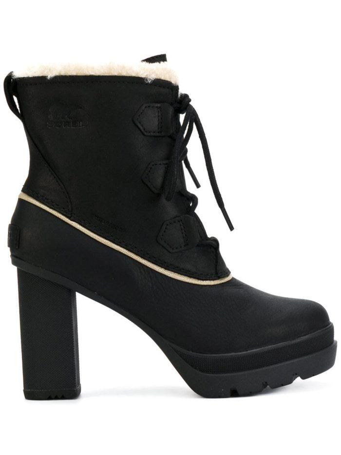 зимние полусапожки на каблуке с с шнурками