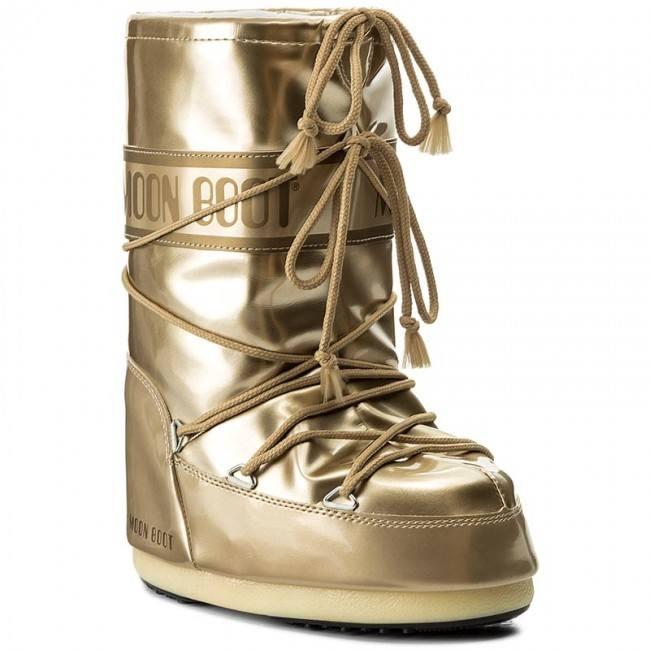 зимние золотые дутики со шнуровкой