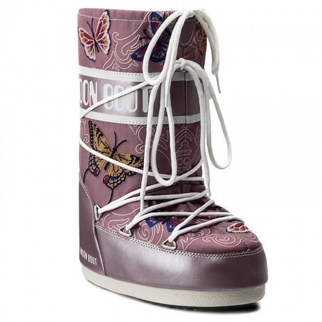 зимние дутики с принтом на шнуровке