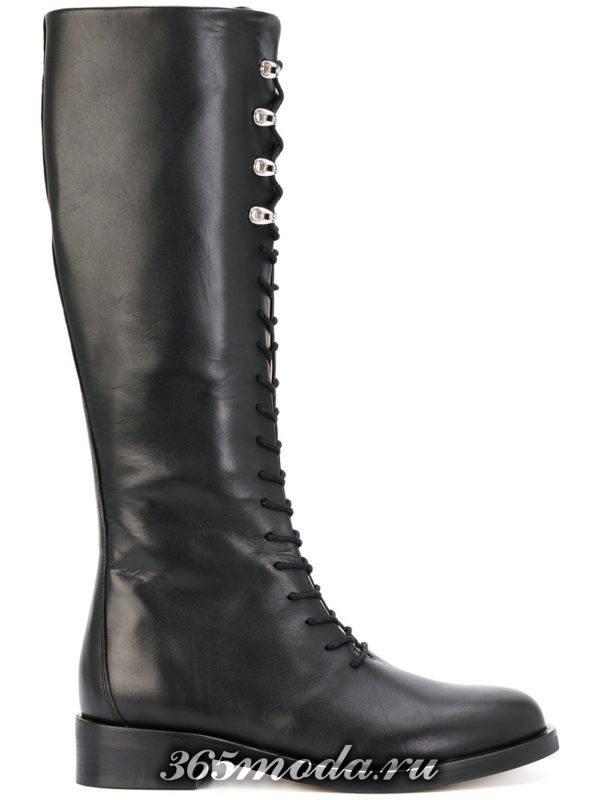 зимние сапоги без каблука на шнурках