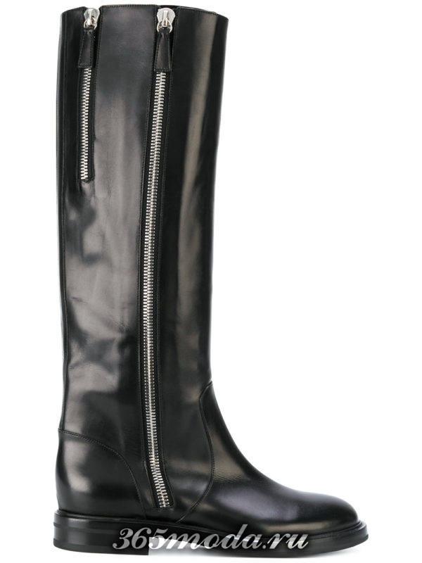 зимние черные сапоги без каблука
