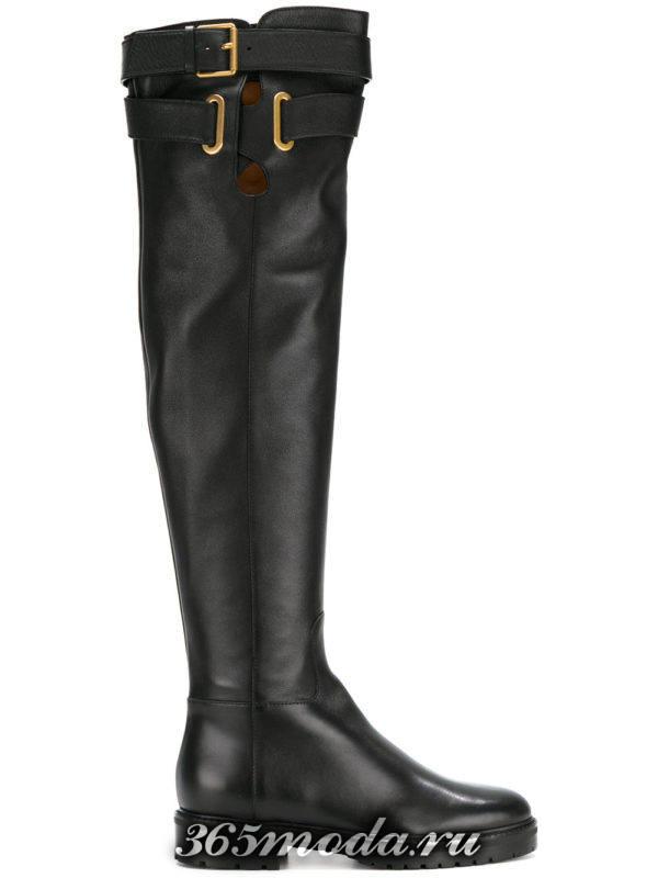 зимние черные кожаные сапоги без каблука