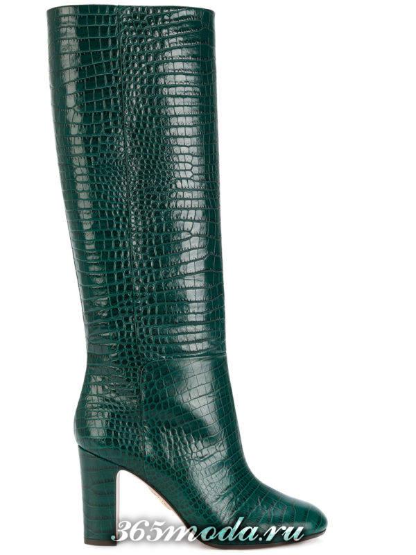 зимние зеленые сапоги на толстом каблуке