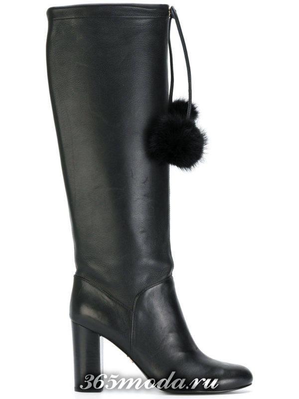 зимние сапоги на толстом каблуке кожаные с декором