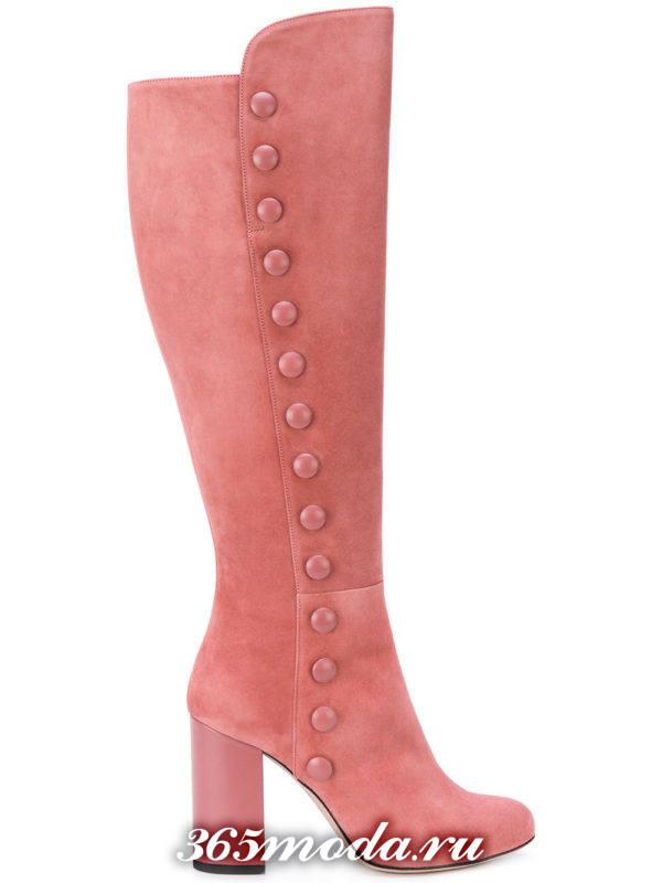 сапоги розовые на толстом каблуке с декором