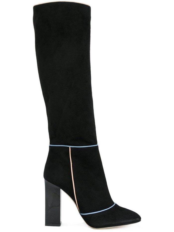 замшевые черные сапоги на толстом каблуке
