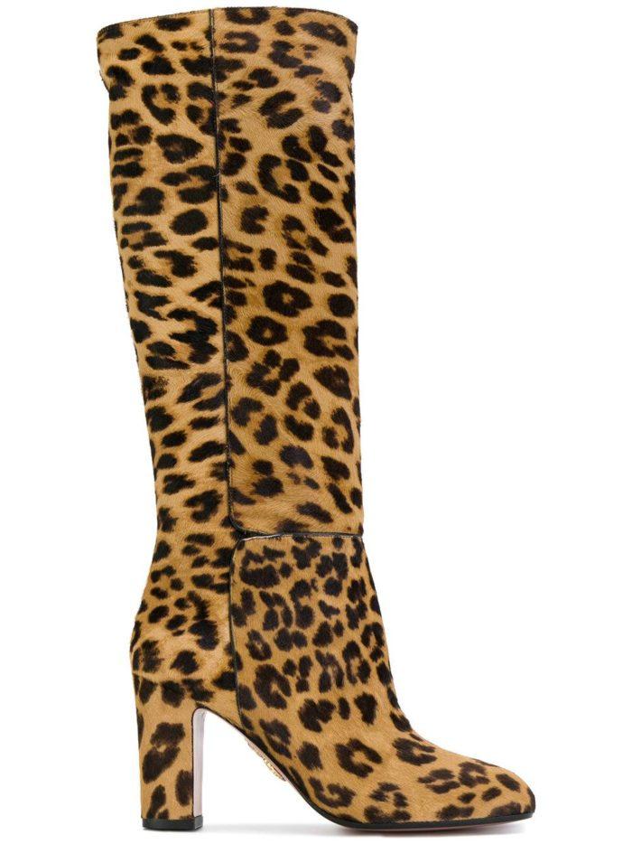 леопардовые сапоги на толстом каблуке