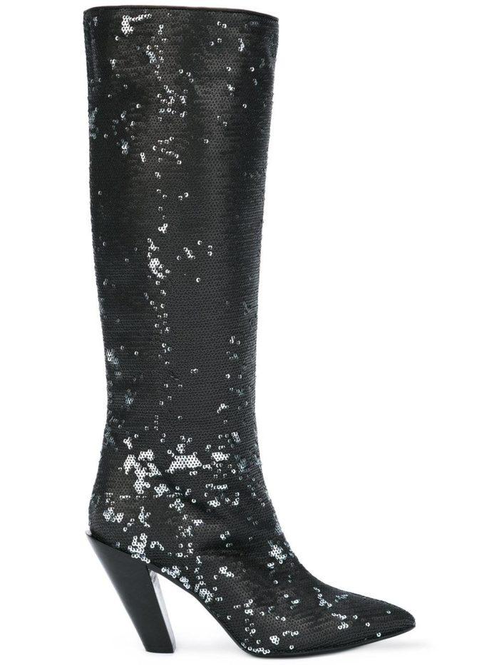 зимняя женская обувь 2020-2021: сапоги на скошенном каблуке с пайетками